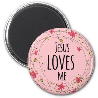 Jesus-Lieben ich Querwreath-rosa mit Blumenmagnet Runder Magnet 5,7 Cm