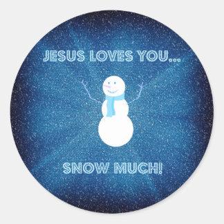 Jesus-Lieben schneien Sie viel! Christliches Runder Aufkleber