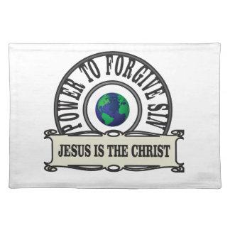 Jesus-Power verzeihen Sünde in der Welt Stofftischset