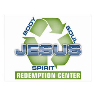 Jesus recyceln Abzahlungs-Mitte Postkarte