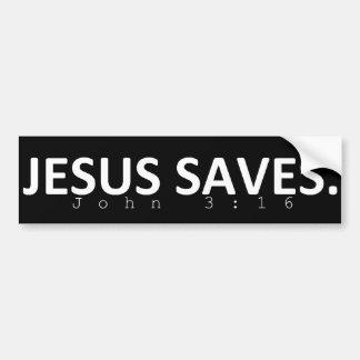 Jesus rettet im Schwarzen Autoaufkleber
