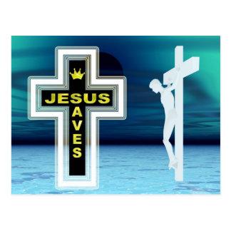 Jesus rettet Kreuzigungsbild Postkarte