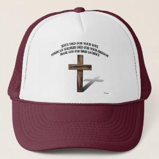 Jesus und die amerikanischen Soldaten mit Truckerkappe