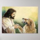 Jesus- und golden retriever-Hundekunst-Druck Poster