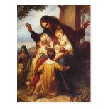 Jesus- und Kinderweihnachtspostkarte Postkarten
