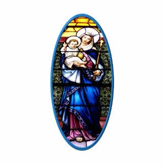 Jesus- und Mary-Buntglasfenster Freistehende Fotoskulptur