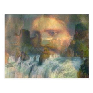 Jesus, Wasserfälle u. Regenbogen Postkarte