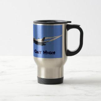 Jet-Kämpfer-Aktions-lustige Foto-Tasse der Reisebecher