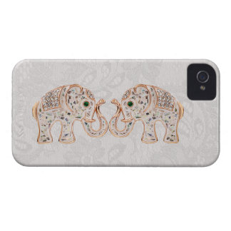 Jewel Elefant-Foto u. Paisley-Spitze iPhone 4 Fall Case-Mate iPhone 4 Hüllen