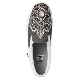 Jeweled Blume Beleg-Auf Turnschuhen Slip-On Sneaker