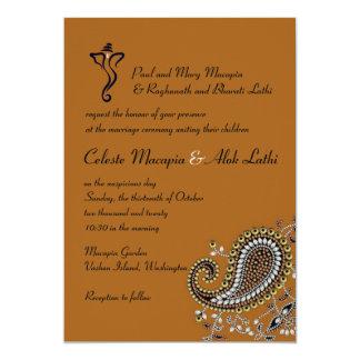 Jeweled hindische Hochzeit 12,7 X 17,8 Cm Einladungskarte