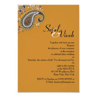 Jeweled hindischer Hochzeits-Einsatz 8,9 X 12,7 Cm Einladungskarte