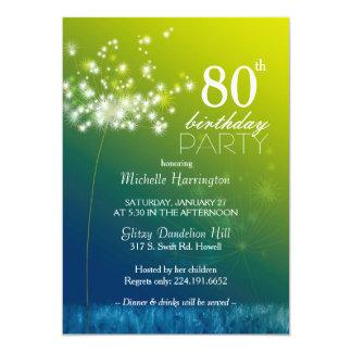 Jeweled Löwenzahn-80. Geburtstags-Party 12,7 X 17,8 Cm Einladungskarte