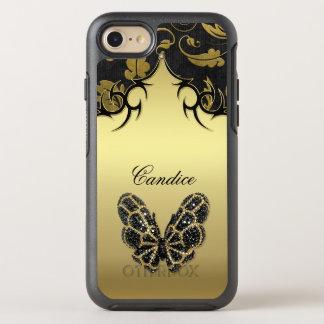 Jeweled Schmetterlings-Damast OtterBox Symmetry iPhone 7 Hülle