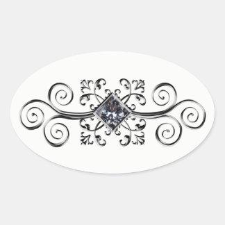 Jeweled silbernes diamante de imitación ovaler aufkleber