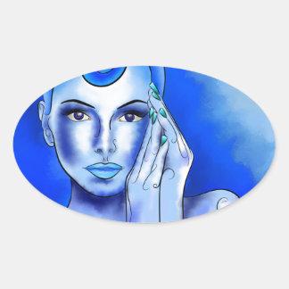 Jewellisina V1 - blauer Schatz Ovaler Aufkleber