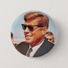 JFK in lebender Farbe Runder Button 5,7 Cm