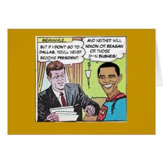 JFK u. ObamaMan Mitteilungskarten Karte