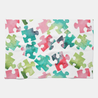 Jigsaw Puzzel Watercolour Pattern Handtuch