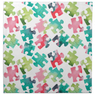 Jigsaw Puzzel Watercolour Pattern Serviette