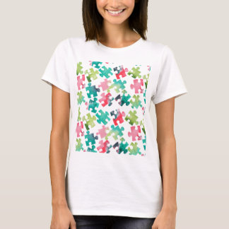 Jigsaw Puzzel Watercolour Pattern T-Shirt