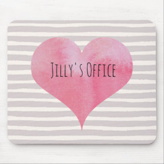 Jillys rosa Aquarell-Herz Mousepad