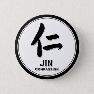 JIN-Mitleid bushido Vorzug-Samurai-Kanji Runder Button 5,7 Cm
