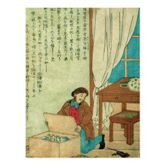 JJ Audubon auf einer Reise zu Japan disovers eine Postkarte