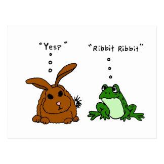 JJ, lustiger Kaninchen-und Frosch-Cartoon Postkarte