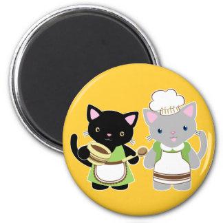 Jo-Jo und Suki Neko Backen-Kätzchen Runder Magnet 5,1 Cm