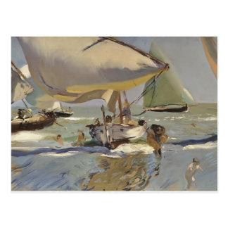 Joaquín Sorolla- Boote auf dem Strand Postkarte