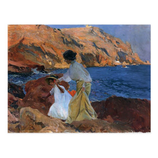 Joaquín Sorolla- Clotilde und Elena auf den Felsen Postkarte