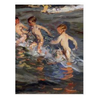 Joaquín Sorolla- Kinder am Strand Postkarte