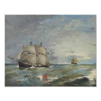 Joaquin Sorolla - Segelboote im Meer Fotodruck