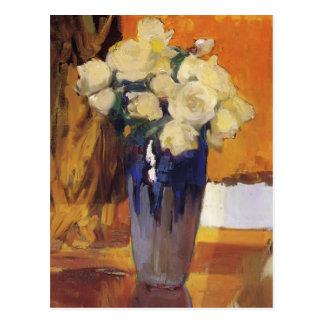Joaquín Sorolla- weiße Rosen vom Haus-Garten Postkarte