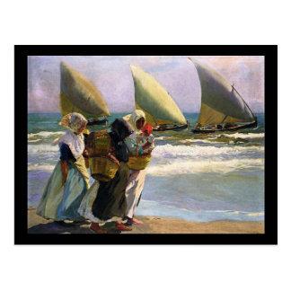 Joaquín Sorolla y Bastida drei Segel Postkarte