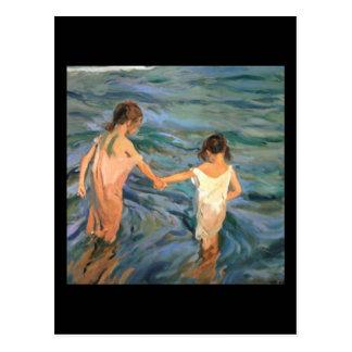 Joaquín Sorolla y Bastida Kinder im Meer Postkarte