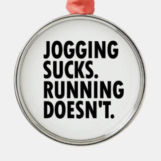 Joggen ist zum Kotzen. Das Laufen tut nicht. Silbernes Ornament