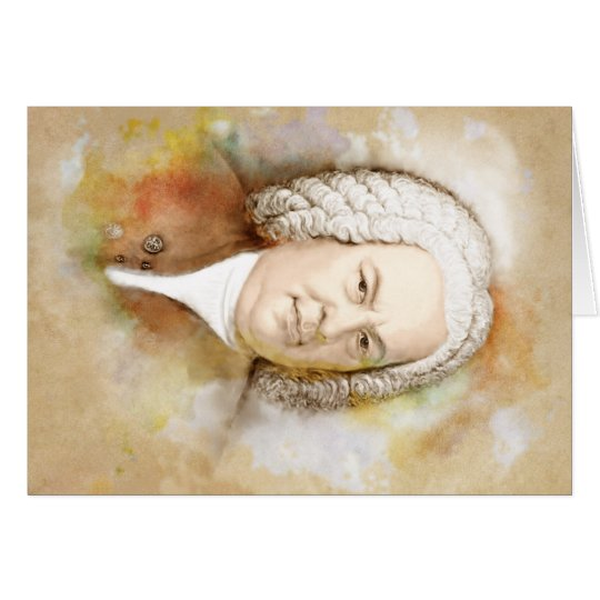 Johann Sebastian Bach Portrait in beige Karte