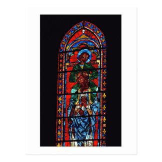 Johannes der Evangelist, der die Schultern von Ez Postkarte
