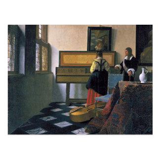 Johannes Vermeer - der Musikunterricht Postkarte