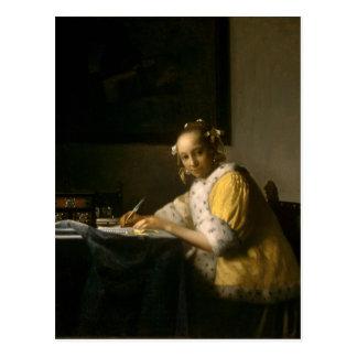 Johannes Vermeer, eine Dame Writing eine Postkarte