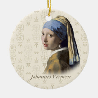 Johannes Vermeer: Mädchen mit dem Perlen-Ohrring Rundes Keramik Ornament
