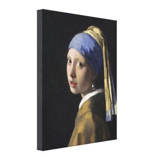 Johannes Vermeer - Mädchen mit einem Perlen-Ohrrin Gespannte Galeriedrucke