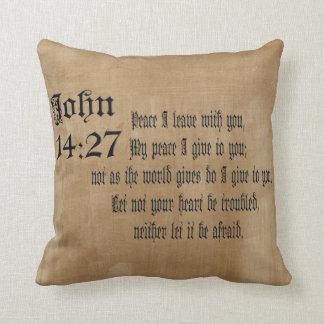 John-14:27   Bibel-Vers-kundenspezifisches Kissen