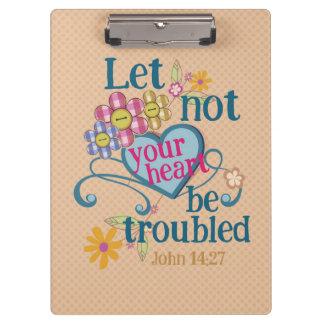 John-14:27 ließ nicht Ihre Herzen beunruhigt Klemmbrett