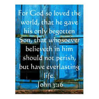John-3 16 christliches Inspirational Zitat Postkarte