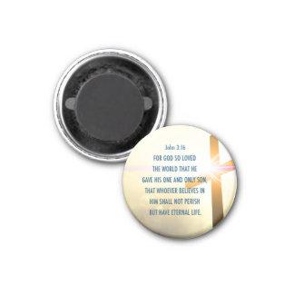 John-3:16 für Gott liebte so den Weltmagneten Runder Magnet 2,5 Cm