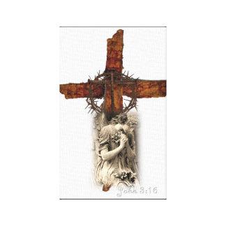 John-3:16 Kreuz mit Dornenkrone und Engel Leinwanddruck