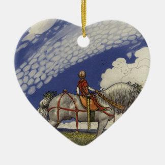 """John Bauer - """"in die weite Welt """" Keramik Herz-Ornament"""